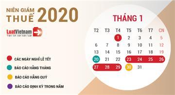 Niên giám thuế 2020: Toàn bộ lịch nộp Tờ khai thuế năm 2020