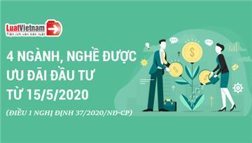 Infographic: Thêm 4 ngành, nghề được ưu đãi đầu tư từ 15/5/2020