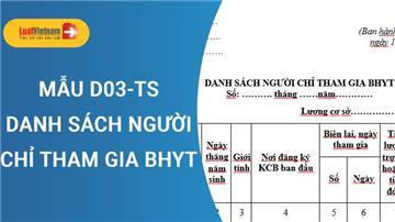 Mẫu D03-TS - Danh sách người chỉ tham gia BHYT