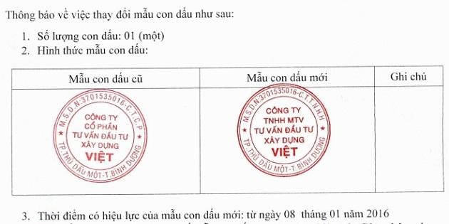 Thông báo về việc thay đổi mẫu con dấu theo Thông tư 02/2019/TT-BKHĐT