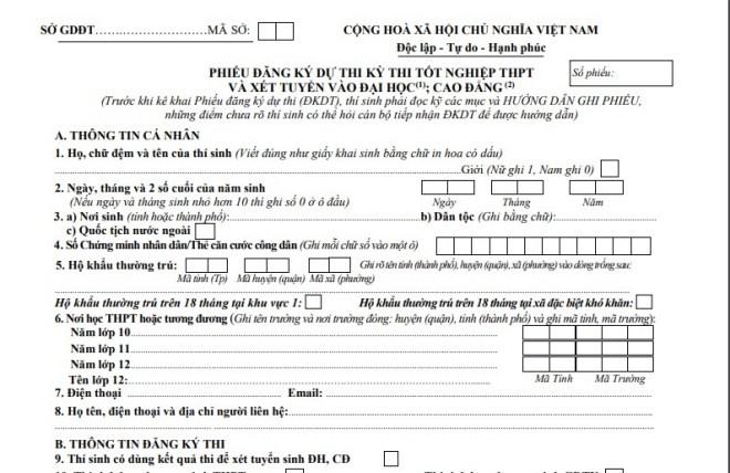 cách ghi phiếu đăng ký dự thi tốt nghiệp THPT