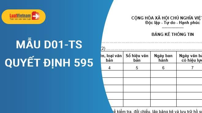 Mẫu D01-TS và hướng dẫn lập chuẩn nhất theo Quyết định 595