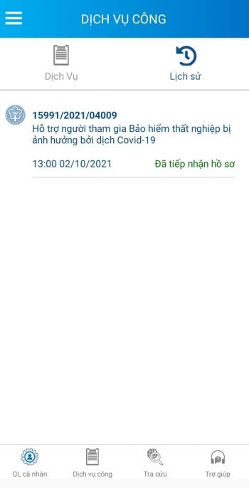 thu tuc nhan ho tro theo nghi quyet 116 online