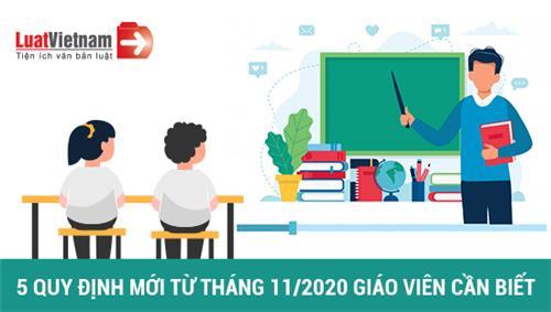 Infographic: 5 quy định mới từ tháng 11/2020 giáo viên cần biết